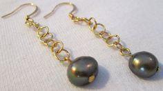Olive Green Pearl Dangle Earrings by dreamdesigns on Etsy, $14.40