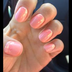 CND shellac salmon with glitter:) Shellac Nail Colors, Shellac Nail Designs, Shellac Nails, Semi Permanent, Permanent Makeup, Love Nails, How To Do Nails, Nail Summer, Nail Accessories