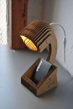 """unconsumption: """" DIY project du jour: Make a lamp from cardboard and an LED lighting kit. How-to: Desktop Lamp — Instructables """" Cardboard Design, Cardboard Furniture, Cardboard Crafts, Paper Crafts, Karton Design, Carton Diy, Diy Karton, Cardboard Costume, Desktop Lamp"""