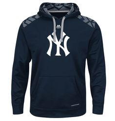 New York Yankees Majestic Armor Pullover Therma Base Synthetic Hoodie - Navy Men's Coats And Jackets, Cool Hoodies, Blue Hoodie, Mens Fashion, Fashion Outfits, Jordans For Men, Mens Clothing Styles, New York Yankees, Mens Sweatshirts