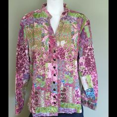 Christopher & Banks Jacket  Christopher & Banks Jacket in pretty pinks, blue, green, white and a touch of brown. So versatile! Silver snap front closure. Excellent condition. Size 2x. Christopher & Banks Jackets & Coats