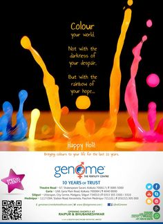 Genome The Fertility Centre Bringing Colours to your Life for the last 10 years. ★ HAPPY HOLI ★
