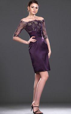 43319727a845 Abito mamma sposa  Abito da festa Pudica Naturale in Satin Elastico Purple  Bridesmaid Dresses