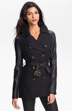 leather sleeve trench jacket #Nordstrom