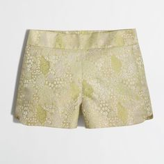 J.Crew Factory Floral Jacquard Short ($46) ❤ liked on Polyvore featuring shorts, pants, j. crew shorts, side zip shorts, j.crew, floral print shorts and floral shorts