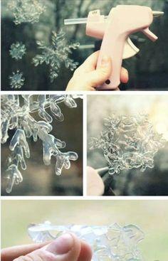 Low temp glue gun to make snowflakes on a window.