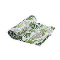 Tropical Leaf Cotton Muslin Swaddle Blanket