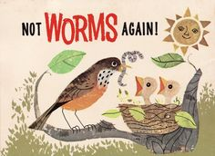 Not Worms Again — Detail from the back cover of a vintage edition of the Golden Magazine for Children. May 1965.