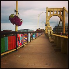 Knit the Bridge installation in process on the Andy Warhol Bridge in Pittsburgh!