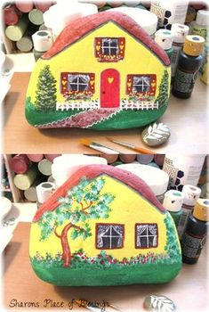 My little rock house is done on both sides. I can't wait to put it in the mini garden. God bless you day! Proverbs 24:3-4 By wi...