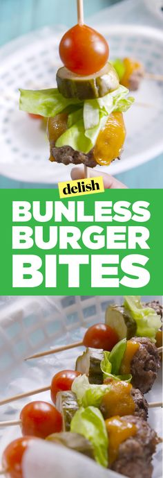 Bunless Burger Bites Are the Addictive (and Adorable) Appetizer Your Party Needs - Best finger food list Kebab Recipes, Burger Recipes, Paleo Recipes, Cooking Recipes, Tailgating Recipes, Top Recipes, Cheese Recipes, Yummy Recipes, Fast Recipes