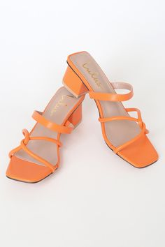 Take your look from casual to chic with the Lulus Mango Orange High Heel Sandals! Square toe slide sandals with an interlocking upper and slender vamp strap. Orange High Heels, Orange Sandals, White Sandals, Strappy Sandals Heels, Low Heels, Shoes Heels, Sandals Outfit, Pretty Shoes, Cute Shoes