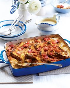 If you like classic bread and butter pudding then you're going to love this combination of ready-made brioche and spiced rhubarb. Serve with clotted cream for a proper British treat.