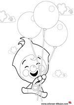 colorear plim plim el payaso volando con globos