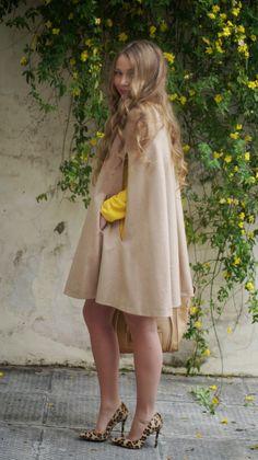 STAM: <Hello Yellow> post camel cape // yellow dress // leopard heels // beige celine bag