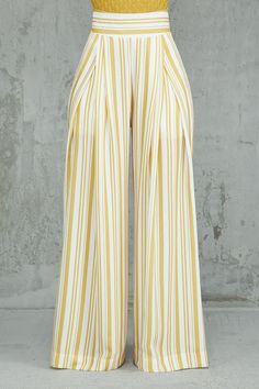 Best 12 My Stripe Of Look Pants (Mustard/Ivory) - Kosmios Fashion Pants, Look Fashion, Fashion Dresses, Trousers Women, Pants For Women, Clothes For Women, Salwar Pants, African Print Fashion, Mode Hijab