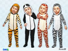 Toddler outfit ''Funny animals'' for boys and girls. Found in TSR Category 'Sims 4 Toddler Female'