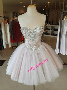 New Arrival Short Prom Dress,Crystal Prom Gown,Tulle Homecoming Dress,Sweetheart Party Dress