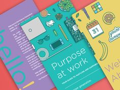 Here is the cover and intro pages of the employee handbook! The idea was to have the illustrations spill onto the back and into the first page of table of contents.  I attached a larger version of ...
