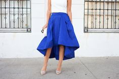 Kathleen of Carrie Bradshaw Lied wearing our Aidan by Aidan Mattox crepe halter crop top with our cobalt blue pleated high low taffeta skirt @AidanbyAM