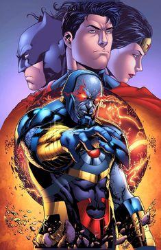 Darkseid and the Trinity by HeagSta Arte Dc Comics, Dc Comics Superheroes, Batman Comics, Aquaman, Darkseid Dc, Comic Book Characters, Comic Character, Justice League, Darkside