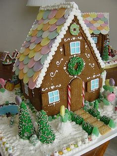 """Loved helping my mom make candy house variations of these -- cardboard frame, covered with """"icing"""" and candies.  Would last several years."""