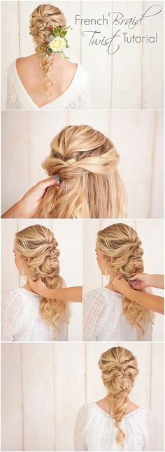 French Braid Twist Tutorial - wedding hairstyles (love your hair, beautiful and elegant hairstyle for long hair) Up Hairstyles, Pretty Hairstyles, Braided Hairstyles, Wedding Hairstyles, Hairstyle Ideas, Layered Hairstyles, School Hairstyles, Elegant Hairstyles, Braided Updo