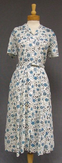 Vintageous, LLC - Blue Floral N/OS 1950's Day Dress, $55.00 (http://www.vintageous.com/blue-floral-n-os-1950s-day-dress/)