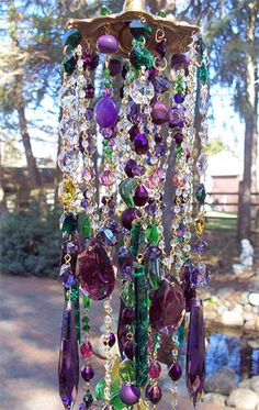 Bohemian Wind Chime crystals, bohemian house diy, craft, purple, colors, bohemian wind, wind chimes, crystal windchimes, garden