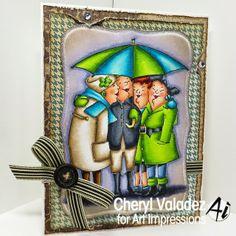 Under My Umbrella (UM4048).....Art Impressions Girlfriends card.