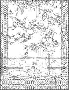 Welcome to Dover Publications Coloring Book Art, Animal Coloring Pages, Colouring Pages, Adult Coloring Pages, Japanese Patterns, Japanese Prints, Detailed Coloring Pages, China Art, Japanese Embroidery