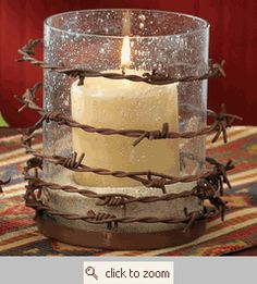 barbed wire candle holder good for reception and would go well with red