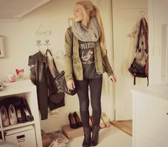 Grey revolution top, green military jacket, and grey infinity scarf