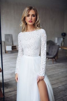 A R W E N lace crop top and tulle skirt with slit bridal | Etsy