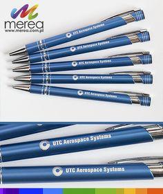 Niebieskie długopisy metalowe z grawerem