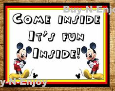 picture relating to Come Inside It's Fun Inside Free Printable named 19 Least complicated Mickey Mouse celebration indication photographs inside 2015 Mickey