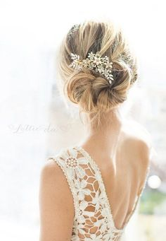 Wedding Updo Hairstyle with Pink Peach Gold Boho Flower Leaf Wedding Hair Comb / http://www.deerpearlflowers.com/wedding-hairstyles-and-bridal-wedding-accessories/2/