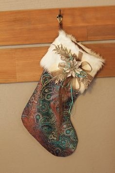 classic christmas stockings | ... similar to Classic Teal and Brown Brocade Christmas Stocking on Etsy