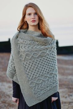 Thyme Wrap. Striking cables from designer Marie Wallin. From Windswept. Yarn is Rowan Cocoon - perfect choice.