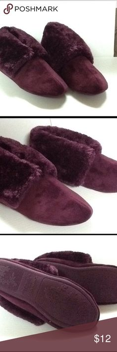 Charter Club Wine Bootie Slippers New in original box. Charter Club micro velour wine colored Bootie slippers. Fur lined. Charter Club Shoes Slippers