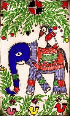 Madhubani elephant and birds - design for my handmade greetingcards..