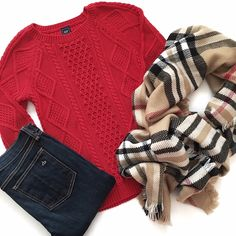 Red & Camel Outfit - festive red cable knit sweater, camel plaid blanket scarf and skinny jeans
