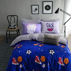 Boys Soccer Ball, Football, Basketball and Rugby Ball Print Sport Style 100% Cotton Twin, Full Size Bedding Sets