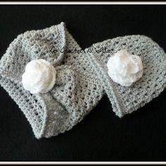 Ensemble bonnet + snood / cache cou  bebe  au crochet