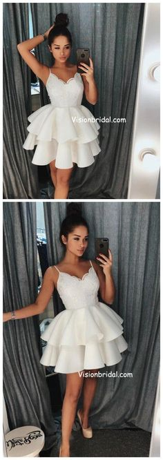 Ivory Spaghetti Straps Lace Cheap Short Homecoming Dresses Online, Homecoming Dr…: Quality Control If you're looking at a handbag, Hersan. Grade 8 Grad Dresses, Grad Dresses Short, Hoco Dresses, Trendy Dresses, Modest Dresses, Casual Dresses, Short Prom, Dress Outfits, Graduation Dresses