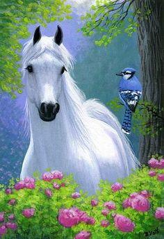 Crisp white horse, pink flowers and a Blue Jay bird, sweet painting. Beaux tableaux de B.Voth