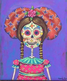 Mexican Painting German Rubio Folk art day of the dead girl
