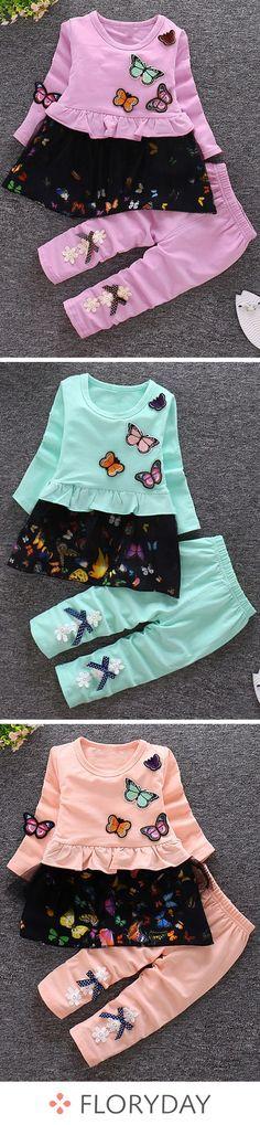 d67cf5b8c Girls' cute long sleeve clothing sets, daily clothing, kids, girls. Fashion