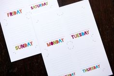 Project Life Days of the Week freebie from @Cathy Zielske : AWESOME!
