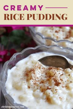 Creamiest Rice Pudding Recipe, Easy Rice Pudding, Rice Pudding Recipes, Rice Puddings, Rice Recipes, Homemade Rice Pudding, Easy Desserts, Delicious Desserts, Dessert Recipes